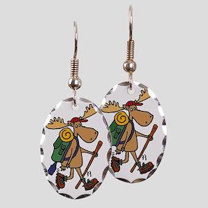 Moose Hiking Earring Oval Charm