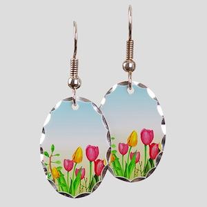 design 16 tulips Earring Oval Charm