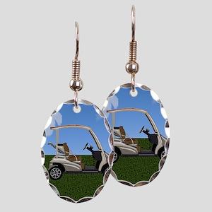 Golf Cart on Grass Earring Oval Charm