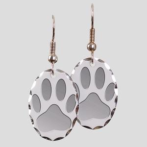 Metallic Dog Paw Print Earring Oval Charm
