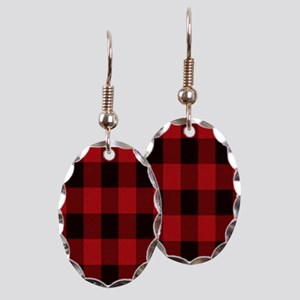 red black plaid Earring Oval Charm