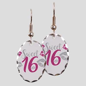 Sweet Sixteen 16 Birthday Glitt Earring Oval Charm