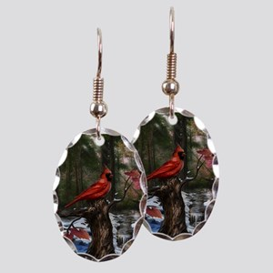 cardinal bird art Earring Oval Charm