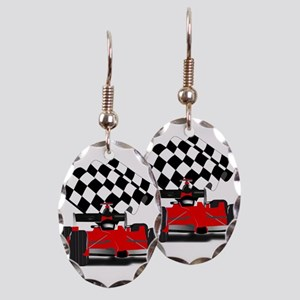 Red Race Car with Checkered Fla Earring Oval Charm
