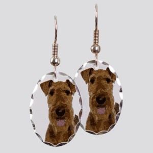 Airedale Painted Earring Oval Charm