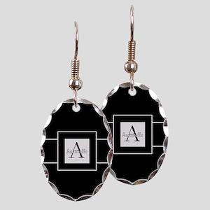 Black White Monogram Personalized Earring