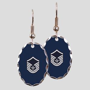 USAF: MSgt E-7 (Blue) Earring Oval Charm
