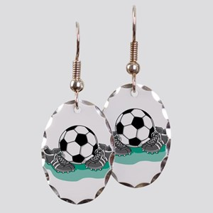 Soccer Ball and Cleats Earring Oval Charm