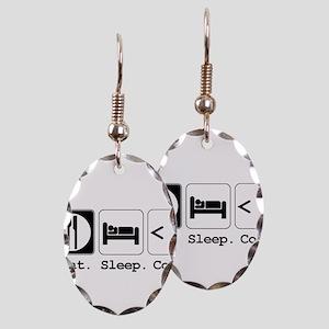 Eat. Sleep. Code. Earring Oval Charm