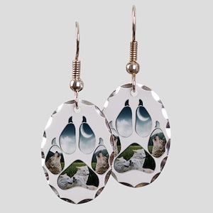 Wolf Print Earring Oval Charm