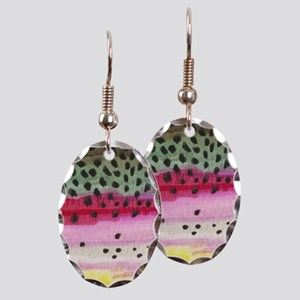 Rainbow Trout Skin Fishing Earring Oval Charm