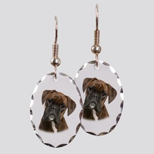 Brindle Boxer Earring Oval Charm