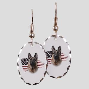 Patriotic German Shepherd Earring Oval Charm