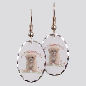Poodle Flowers Earring Oval Charm