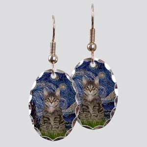 Starry Night & Tiger Cat Earring Oval Charm