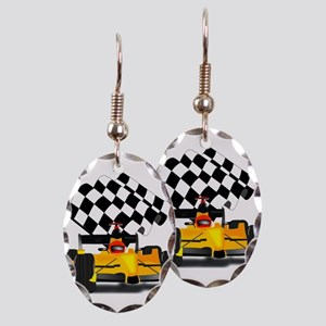 Yellow Race Car with Checkered Flag Earring Oval C