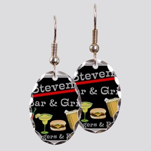 Personalized Bar and Grill Earring Oval Charm