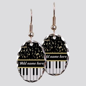 Personalized Piano and musical notes Earring Oval