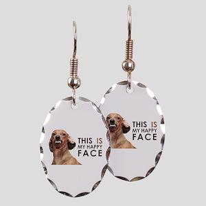 Happy Face Dachshund Earring Oval Charm