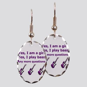 Yes I am a girl Play Bass Purple with bass Earring