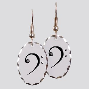 Bass Clef Casual Style Black White Earring