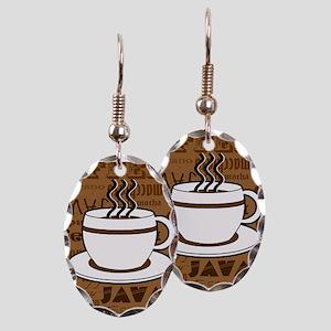 Coffee Words Jumble Print - Brown Earring