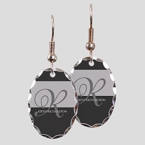 Elegant Custom Monogram Earring Oval Charm
