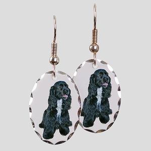 Cocker Spaniel - black w-white chest Earring Oval