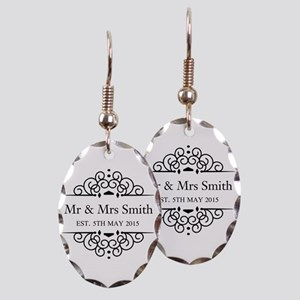 Custom Couples Name and wedding date Earring Oval