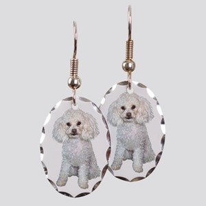 Poodle - Min White Earring Oval Charm
