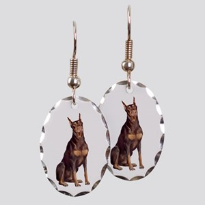Red Doberman Earring Oval Charm
