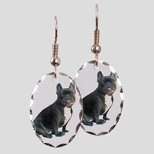 French Bulldog (blk) Earring Oval Charm