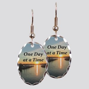 ONE DAY AT A TIME Earring Oval Charm