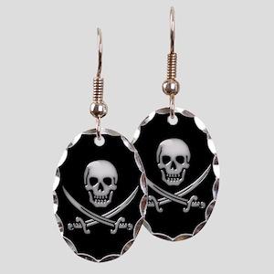 Glassy Skull and Cross Swords Earring