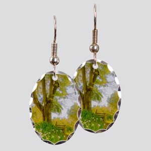Golden Scene with Tree and Benc Earring Oval Charm