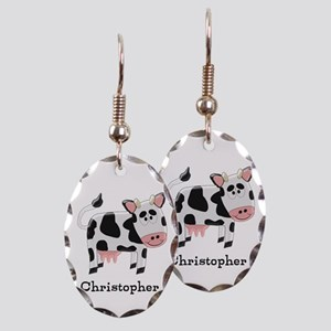 Cow Just Add Name Earring Oval Charm