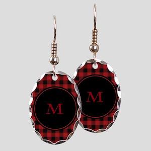 Red Black Plaid Monogram Earring Oval Charm