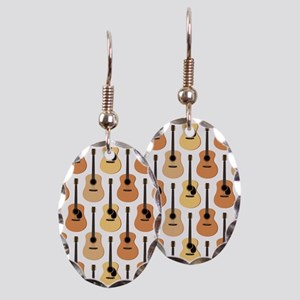 Acoustic Guitars Pattern Earring Oval Charm