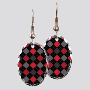 Red Charcoal Argyle Earring Oval Charm