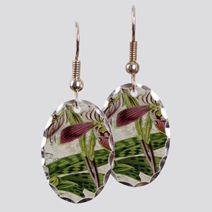 vintage orchid french botanical Earring Oval Charm