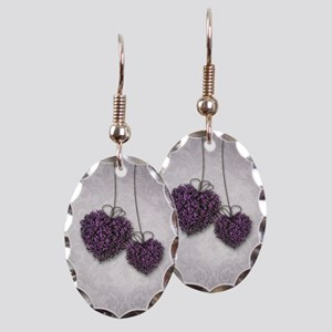 Purple Hearts Earring Oval Charm
