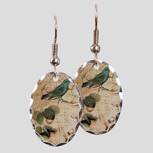 teal bird vintage roses swirls Earring Oval Charm