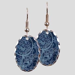 Clockwork Collage Blue Earring Oval Charm