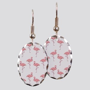 Pink Flamingos Classic Pattern Earring Oval Charm
