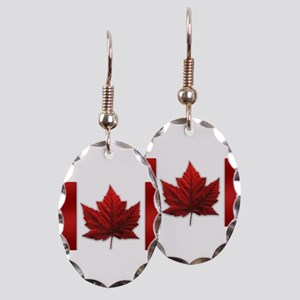 Canada Flag Souvenirs Canadian Earring Oval Charm