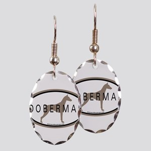 Doberman Dog Oval Earring Oval Charm