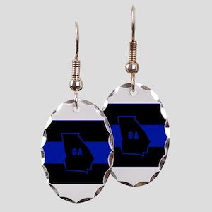 Thin Blue Line - Georgia Earring Oval Charm