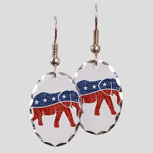 glitter republican elephant Earring Oval Charm