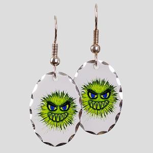 Green Spiky Monster Earring Oval Charm