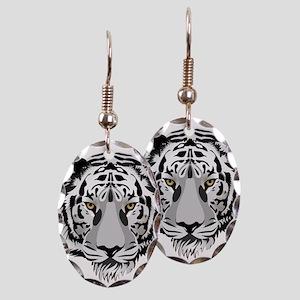 White Tiger Face Earring